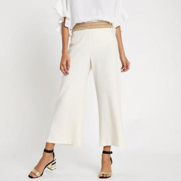 River Island Womens Stud Trim Wide Leg Cropped Pants