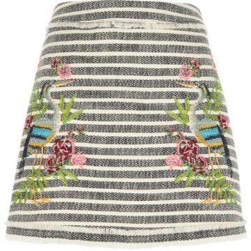 River Island Womens Tweed Stripe Embroidered Mini Skirt