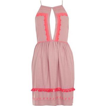 River Island Womens Square Neck Embroidered Cami Beach Dress