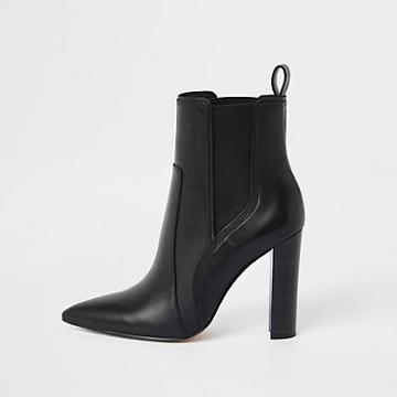 River Island Womens Leather Pointed Western Heeled Boot