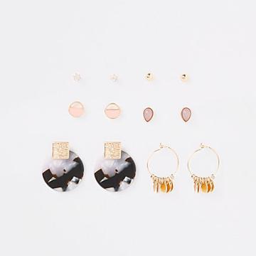 River Island Womens Gold Colour Tortoise Shell Earring Multipack