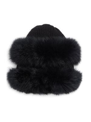 Glamourpuss Fox Fur-trim Wool Knit Hat