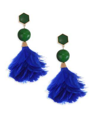 Tory Burch Feather Drop Earrings