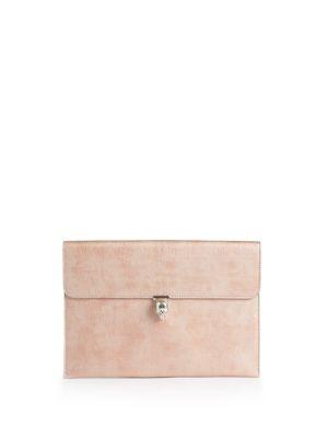 Alexander Mcqueen Metallic Leather Envelope Clutch