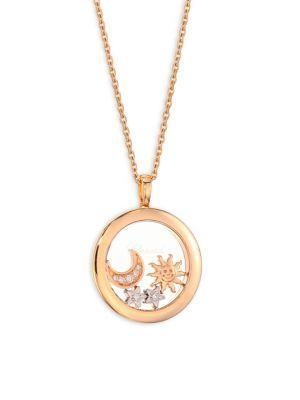 Chopard Happy Star & Moon Diamond Pendant Necklace