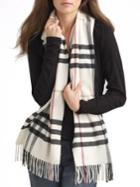 Burberry Ivory Giant Check Cashmere Scarf