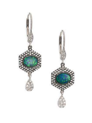 Meira T Opal, Diamond & 14k White Gold Hexagon Drop Earrings