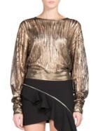 Saint Laurent Metallic Distressed Rib-knit Top