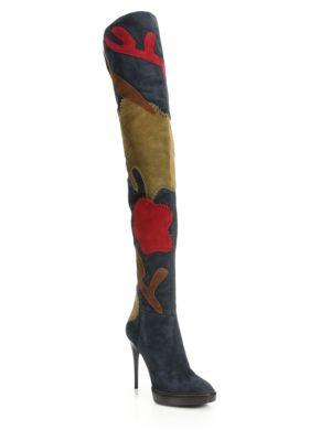 Burberry Patchwork Suede Over-the-knee Boots