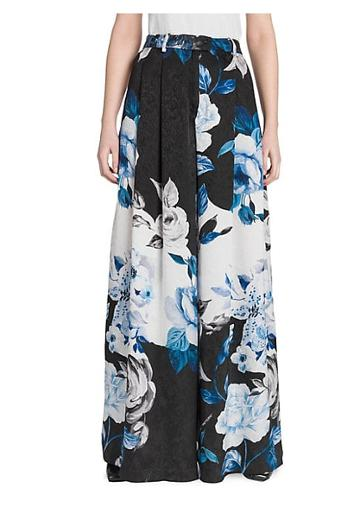 Off-white Floral Silk Wide-leg Pants