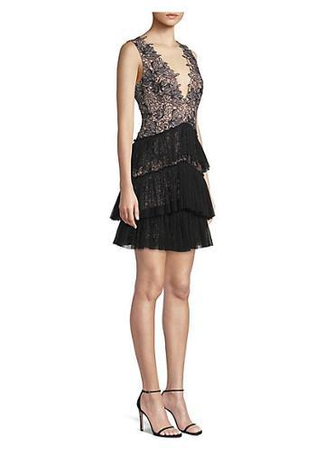 Bcbgmaxazria Sleeveless V-neck Tiered Lace Dress