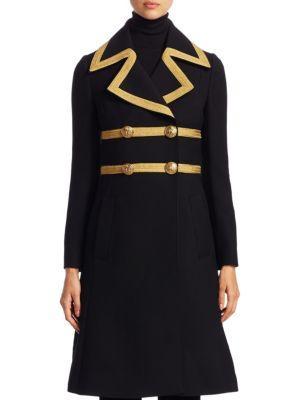 Dolce & Gabbana Metallic Trim Wool Coat