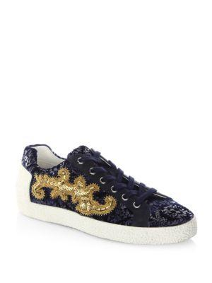 Ash Embroidered Lace-up Sneakers