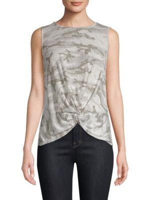 Red Haute Camo Knot-front Tank Top