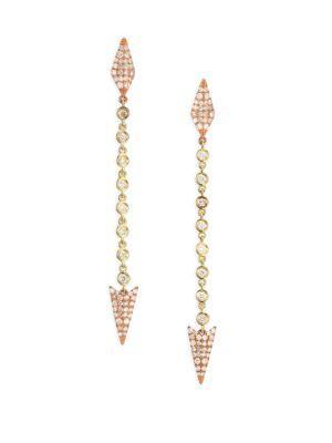 Meira T Diamond & 14k Yellow & Rose Gold Arrow Drop Earrings