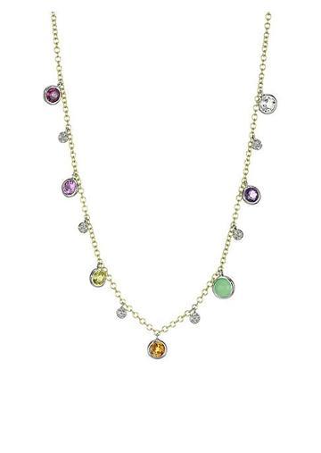 Meira T 14k Yellow & White Gold Multi-stone Rainbow Necklace