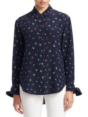 Theory Tie Cuff Floral Button-up