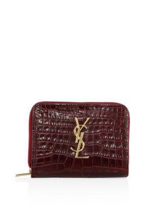 Saint Laurent Monogram Croc-embossed Leather French Zip Wallet