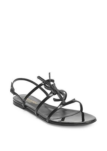 Saint Laurent Cassandra Leather Flat Sandals