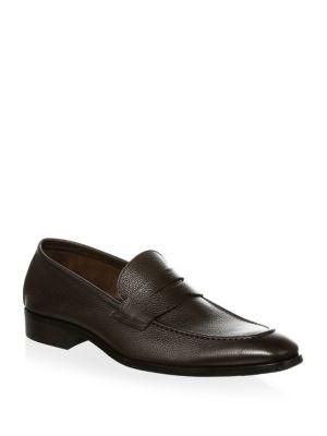 To Boot New York Textured Leather Penny Loafers