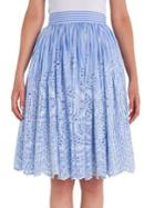 Miu Miu Cotton Poplin Eyelet Striped Skirt
