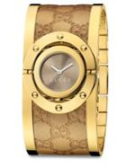 Gucci Twirl Goldtone Stainless Steel & Metallic Leather Bangle Bracelet Watch