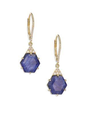 Meira T Sodalite, Diamond & 14k Yellow Gold Hexagon Drop Earrings