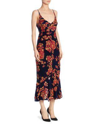Saloni Aidan Printed Velvet V-neck Dress
