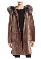 The Fur Salon Lamb & Fox Fur Blanket Coat