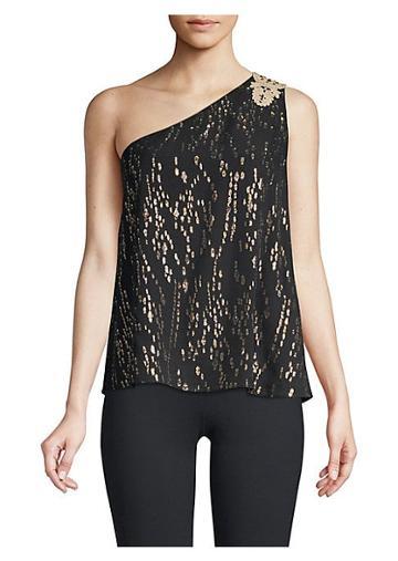 Lilly Pulitzer Sienne Metallic Silk One-shoulder Top