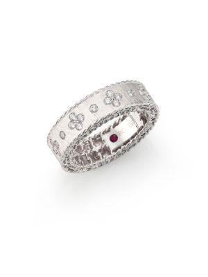 Roberto Coin Princess Diamond & 18k White Gold Band Ring