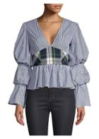 Petersyn Randi Checkered Peplum Top