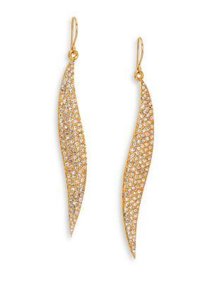 Abs By Allen Schwartz Jewelry Pave Wave Drop Earrings/goldtone