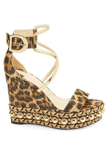 Christian Louboutin Chocazeppa 120 Leopard Lurex Platform Wedge Sandals