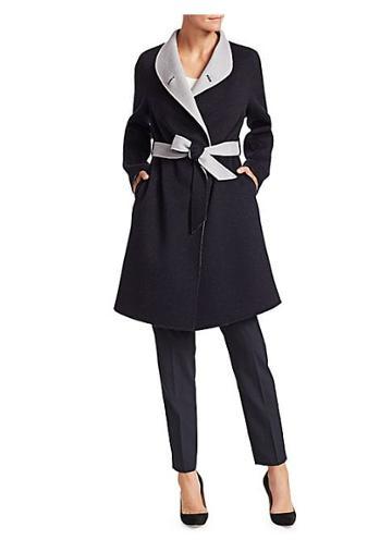 Emporio Armani Cashmere & Wool Contrast Wrap Coat