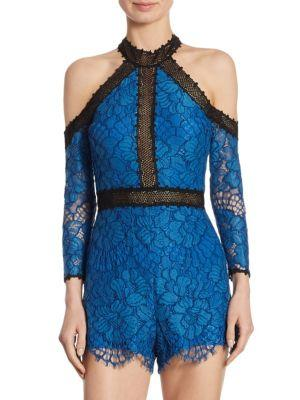 Alexis Leda Cold-shoulder Lace Romper