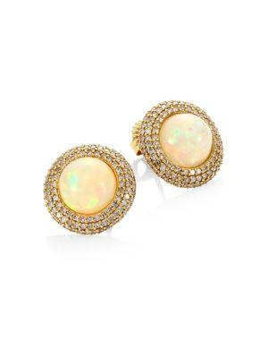 Bavna Diamond & Moonstone Stud Earrings