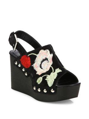 Alexander Mcqueen Floral-embroidered Suede Wedge Slingbacks