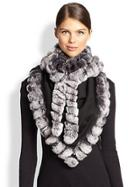 Glamourpuss Bohemian Rabbit Fur-trimmed Scarf