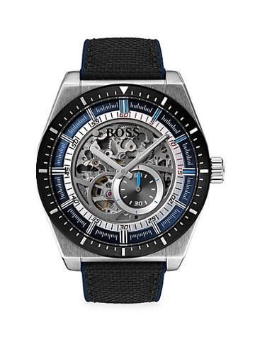 Hugo Boss Signature Timepiece Skeleton Stainless Steel, Black Leather & Nylon Chronograph Bracelet Watch