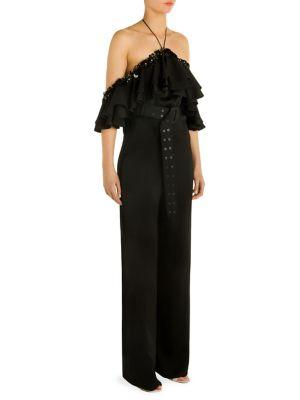 Emilio Pucci Ruffle Off-the-shoulder Off Jumpsuit