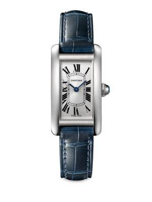 Cartier Small Tank Americaine Stainless Steel & Alligator Strap Watch