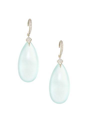 Adriana Orsini 18k Goldplated Silver, Blue Chalcedony & Cubic Zirconia Drop Earrings