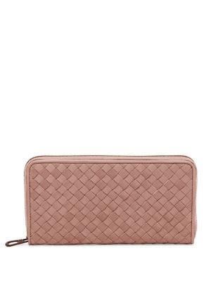 Bottega Veneta Zip-around Leather Woven Wallet