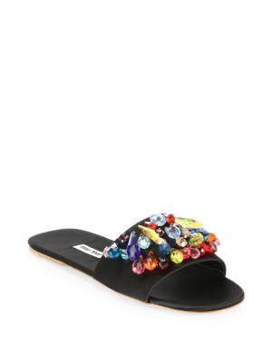 Miu Miu Embellished Satin Slides