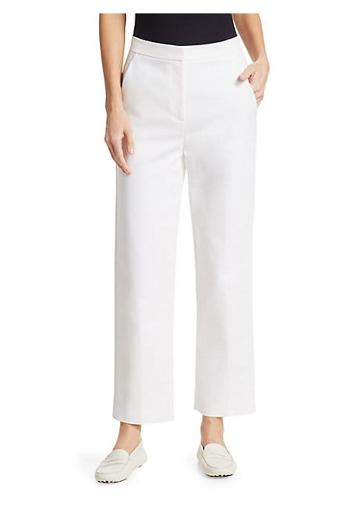 St. John Compact Stretch Cotton Cropped Pants