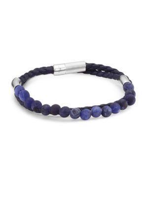 Tateossian Silver And Leather Havana Wrap Bracelet