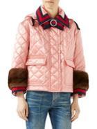 Gucci Mink-trim Quilted Jacket