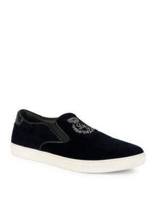Dolce & Gabbana Embroidered Velvet Skate Sneakers