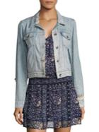 Paige Vivienne Cropped Distressed Light Denim Jacket